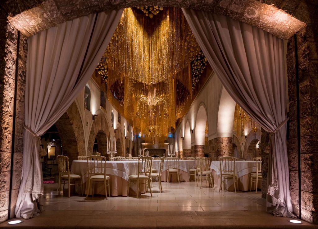 Wedding set up at Castello Monaci in Puglia